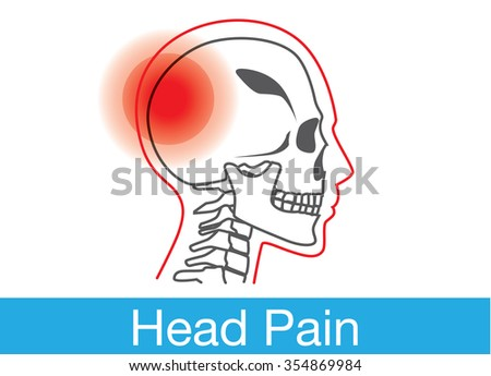 Red warning sign on human skull area that meaning have head pain or injuries at skull. This illustration about symptom, disease and medical. - stock vector