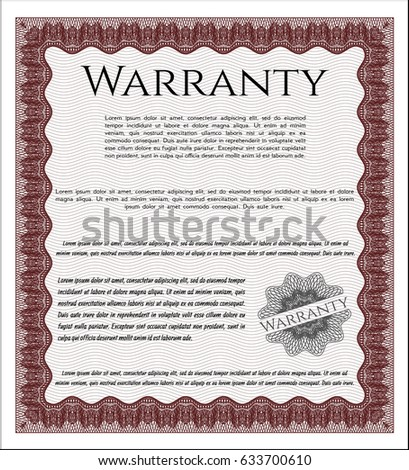 Red Warranty Certificate Template Excellent Design Stock Photo