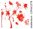 red watercolor blots on a white background - vector illustration - stock vector