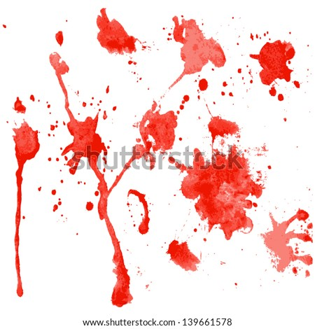 red watercolor blots on a white background - vector illustration