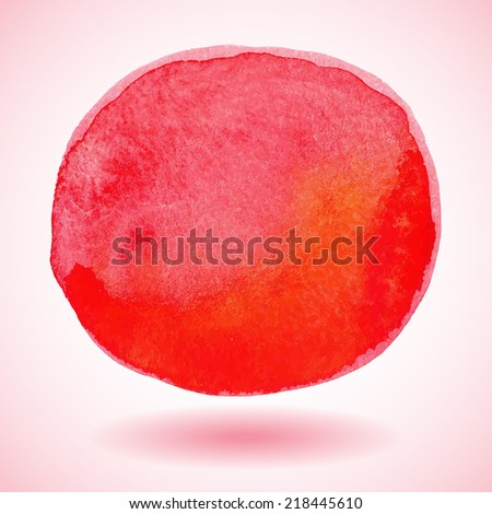 Red watercolor paint vector circle - stock vector