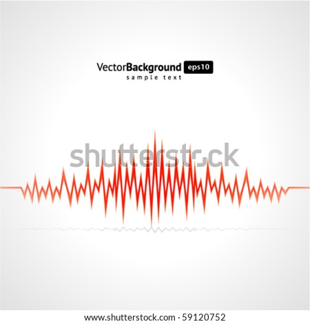 Red waveform vector background - stock vector