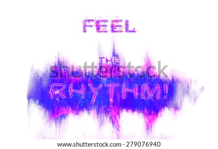 red waveform with painted texture. Design element for message - feel the rhythm lettering - stock vector