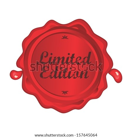 red wax label art limited edition - stock vector