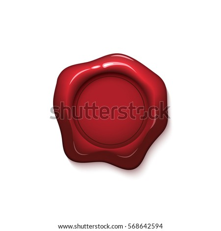 red wax seal isolated on white background vector stamp realistic red label for letter