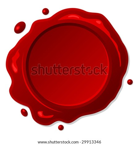 Red wax seal isolated over white background