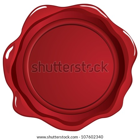 Red wax seal on white - stock vector