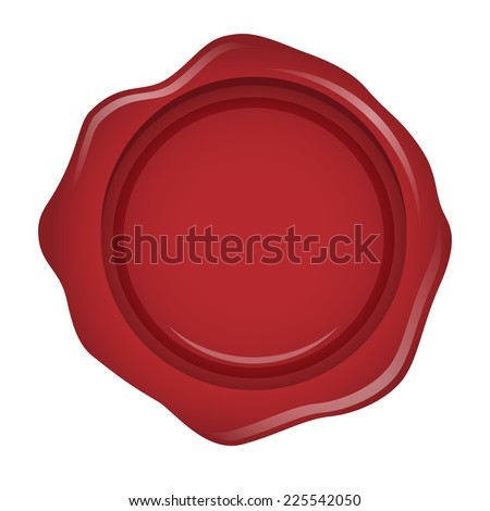 Red wax seal or stamp isolated - stock vector