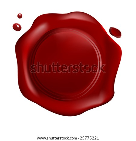 Red wax seal with drops (vector)