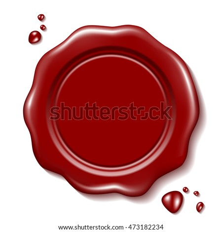 Red wax seal with small drops