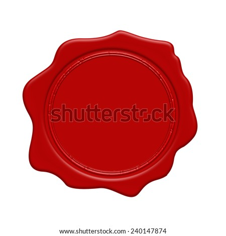 Red wax stamp on a white background, vector illustration - stock vector
