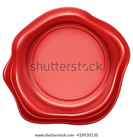 red wax stamp seal - stock vector