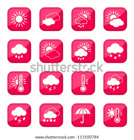 Red Weather Vector Icon Set for web and mobile. All elements are grouped. - stock vector