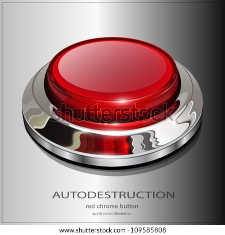 Red web button with chrome, metallic elements, realistic vector illustration. - stock vector