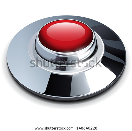Red web button with chrome, metallic elements, vector illustration.  - stock vector