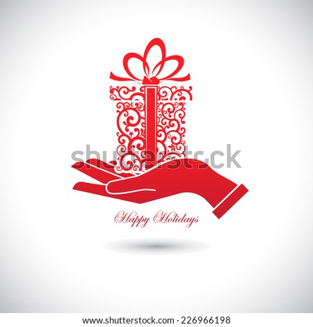Red Web icon for celebrations, gift in hand. - stock vector