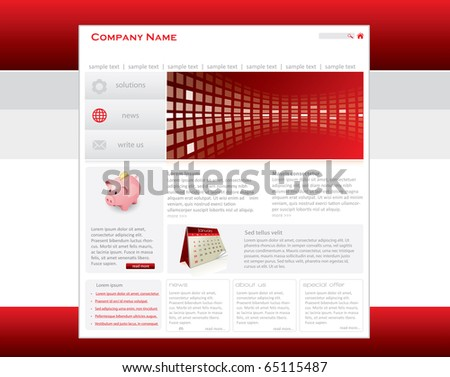 Red website template in editable vector format - stock vector