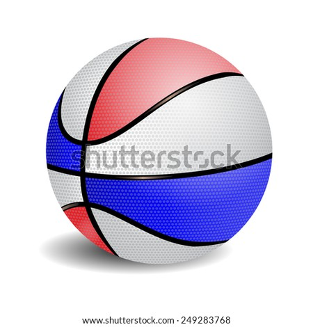 Red, white and blue ball basketball vector - stock vector