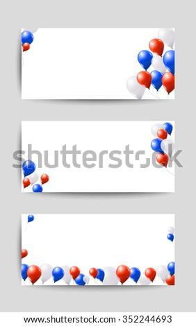 Red White Blue Balloons On White Stock Vector 352244693 Shutterstock