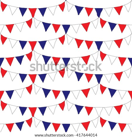 Red white and blue banner flags with seamless repeating design - stock vector