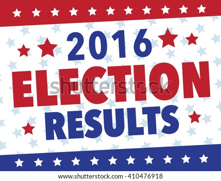 Red, white and blue election results political poster - stock vector