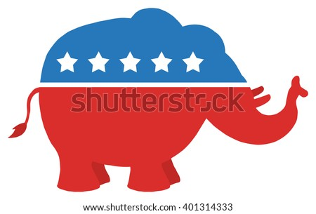 red white blue republican elephantvector illustration stock vector