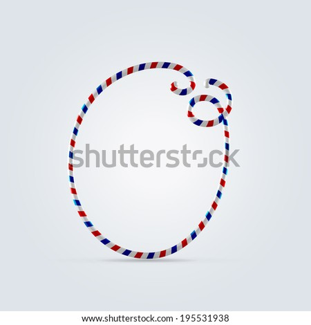 Red white and blue striped font abc capital letter O - stock vector