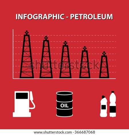 red white black infographic of decline production of petroleum with rig columns and icon of fuel, oil and plastic - stock vector