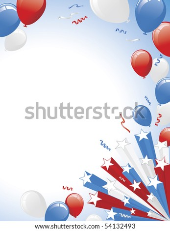 Red White Blue Balloons and 3D star burst. Vertical layout version. - stock vector