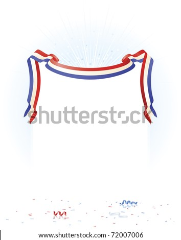 Red White Blue ribbon over white copy space, reflective surface floor and star burst background