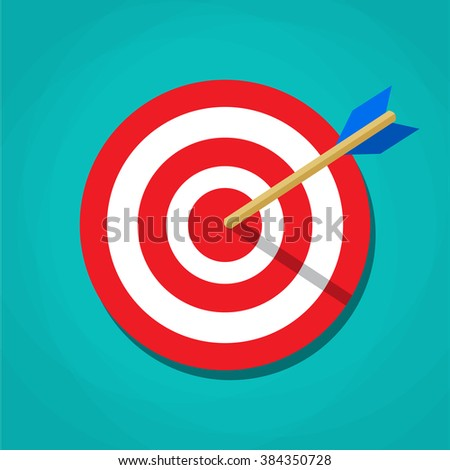 Red white circle darts target with arrow in center. Sport, shooting. Vector illustration in flat design on green background - stock vector