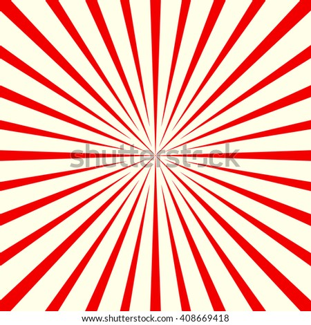 Red white stylized sunbeam background. Red striped abstract wallpaper. Vector illustration - stock vector