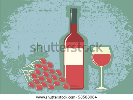Red wine and grapes.Vector grunge symbol. - stock vector