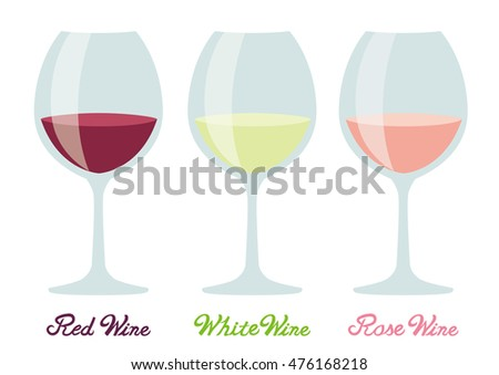 Red wine and white wine and rose wine. wine glass set