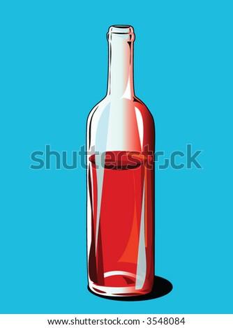red wine bottle - stock vector