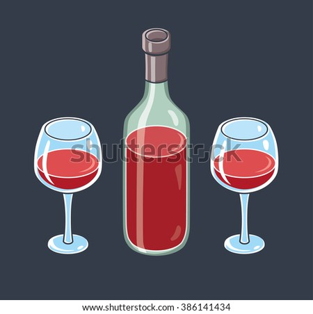 Red wine bottle and two wine glasses on a dark background. - stock vector
