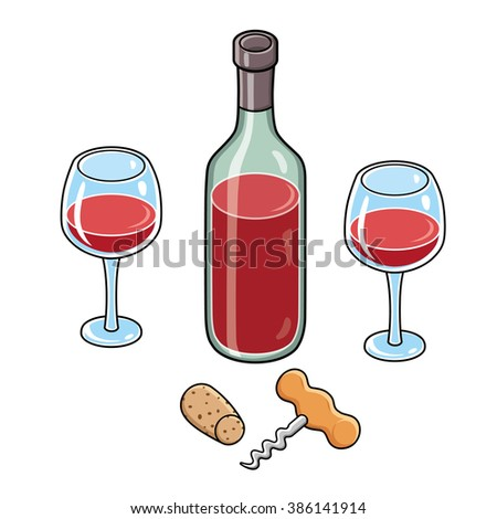Red wine bottle, two wine glasses, a corkscrew and a cork. - stock vector