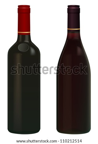 Red Wine bottles isolated in white without  label, vector