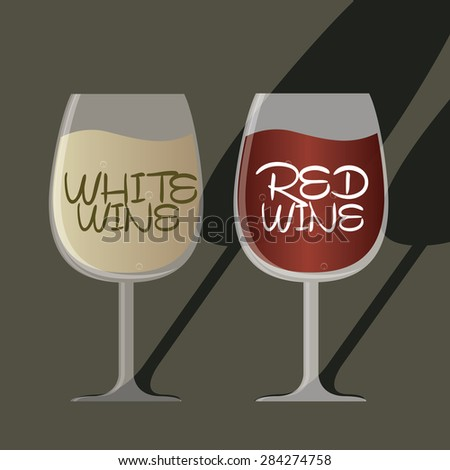 Red wine glass and white wine glass vector