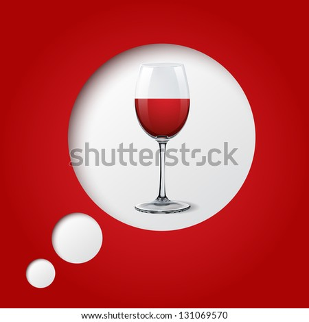red wine glass on red background with circles eps10 illustration - stock vector