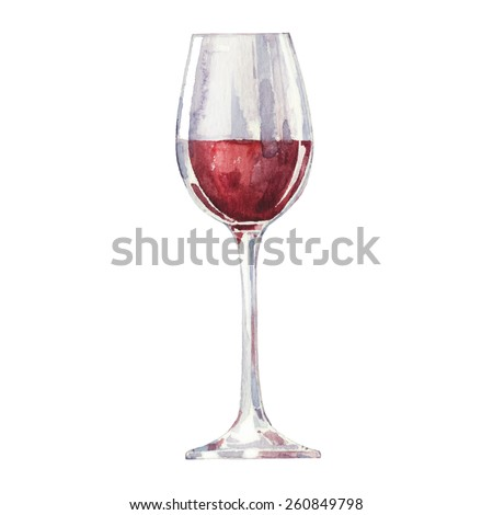 Red wine in a glass isolated on white background. Vector, watercolor hand drawn  illustration. - stock vector