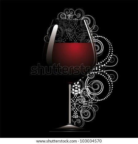 Red wine in glass on black back. - stock vector