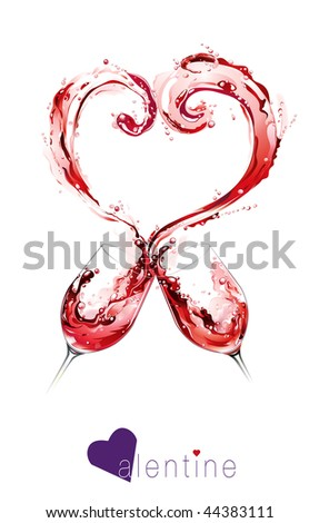 Red wine spilling and forming heart shape - stock vector