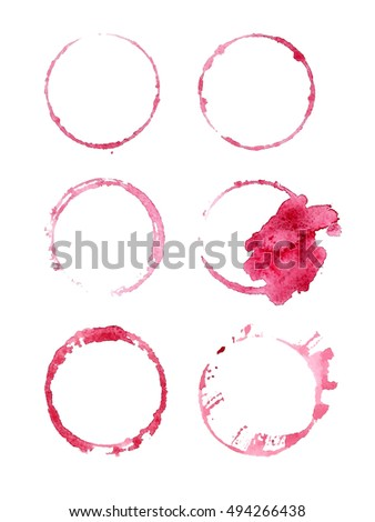 Red wine stains. Design elements isolated on white. Abstract watercolor background.
