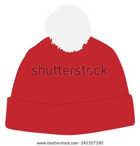Red winter hat with white pompom vector isolated, snowboarding hat - stock vector