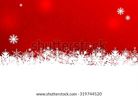 Red winter or Christmas background with abstract snowflakes and place for your text - vector illustration - stock vector