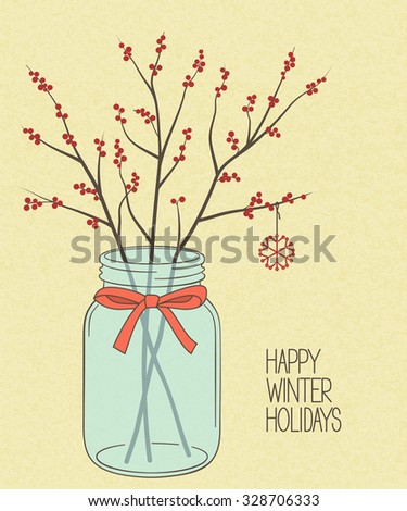 Red winterberry twigs in Mason jar over rough brown paper texture for Christmas and New Year design