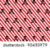 Red with White Stripes and Black Rock Musician Skull and Cross Bones Pattern Background Fabric or Wrapping Paper Design - stock vector