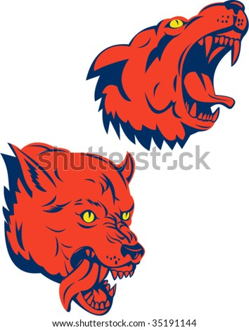 Red wolf snarling and biting - stock vector