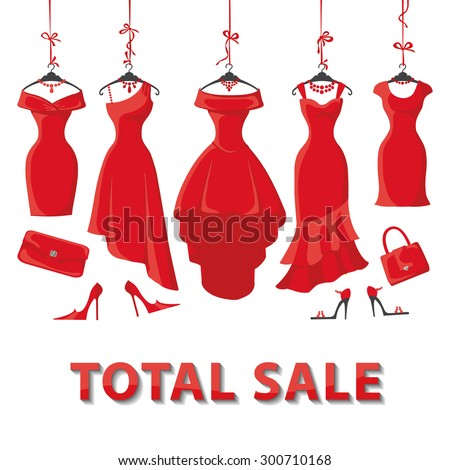 Red Woman dresses on a hanger and fashion accessories set.Summer sale party. Short and long elegant design lady dress,handbags,shoes collection.Vector art image illustration,background,template - stock vector